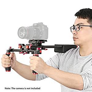 Neewer Portable Camera Movie Video Making System With Camera/Camcorder Mount Slider, Soft Rubber Shoulder Pad and Dual-hand Handgrip For All DSLR Video Cameras and DV Camcorders Red