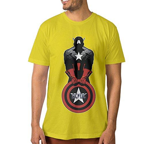 ALIIXUN2 Men's Captain Hero Sheild Velvet T Shirt (Halloween Denver Co)