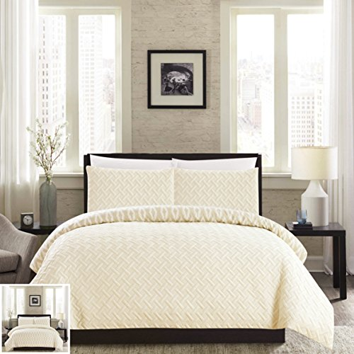 Chic Home 3 Piece Ora Heavy Embossed and Embroidered Quilted geometrical pattern REVERSIBLE printed King Comforter Set Beige - Beige Comforter