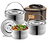 Camping Cookware Set - Compact Stainless Steel Campfire Cooking Pots and Pans | Combo Kit with Travel Tote Bag | Rugged Outdoor 4 Pc Cook Set for Hiking | Barbecues | Beach | Hiking Gear