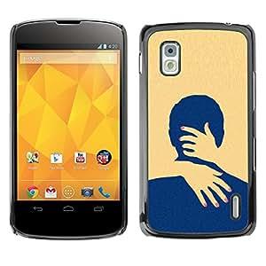 For LG Google NEXUS 4 / Mako / E960 Case , Yellow Love Minimalist Clean - Diseño Patrón Teléfono Caso Cubierta Case Bumper Duro Protección Case Cover Funda