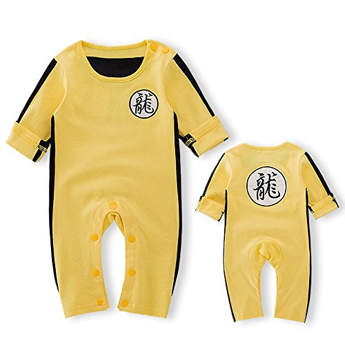 Gonxifacai Toddler Baby Boys Bruce Lee Long Sleeve Home Funny Pattern Outfit Romper Bodysuit(Yellow,12 Months)]()