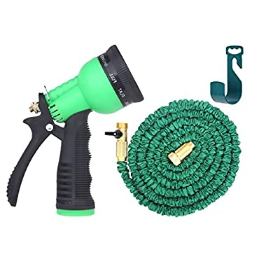 Brass Connectors Expandable Garden Hose By Gardeniar - 100ft Green Kink, Flexible - The Best Expanding Garden Hose for all your Watering Needs, Comes with a Free 8 Setting Spray Nozzle & Hose Hanger