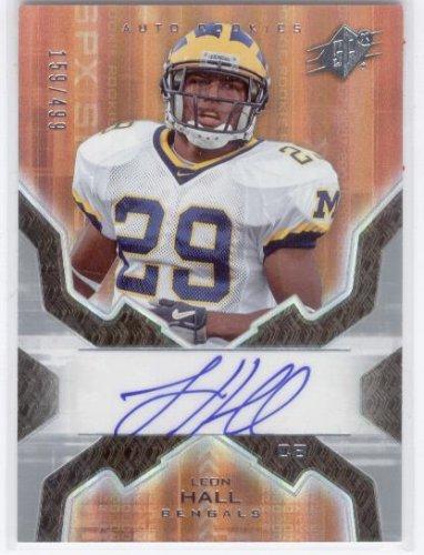 (2007 SPx # 186 Leon Hall - Cincinnati Bengals / University of Michigan (RC - Rookie - Autographed - Serial #D To 499 - Football Cards))