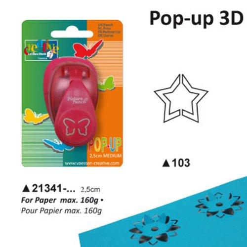 Vaessen Creative 21431-103 Perforatrice Stella Pop Up M, Plastic, Rosso, 12 x 8.5 x 6 cm,