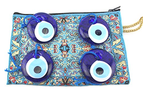 (Set of 4 Evil Eye Charm Amulet 4cm Greek Wall Hanging Protection With an Embroidered Rug Coin Zip Purse)
