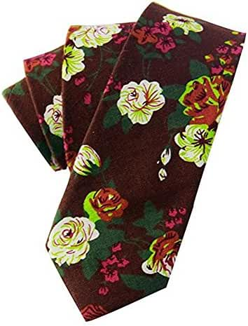 Qianyi Skinny Cotton Printed Floral Neckties Ties Neck Tie for Men