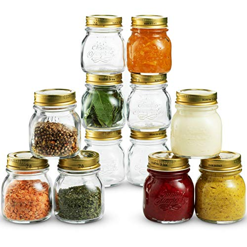 (Bormioli Rocco Quattro Stagioni Small Glass Mason Jars 5 Ounce Mini Jars (12-Pack) with Metal Airtight Lid, For Jam, Jelly, baby food, Crafts, Spices, Dry Food Storage, Wedding favors, Decorating Jar)
