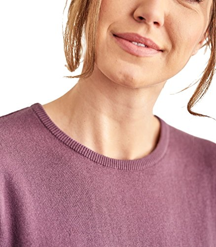 WoolOvers Pull à col rond - Femme - Cachemire & Coton Dark Grape, S