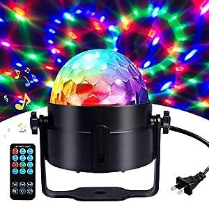 Flashandfocus.com 51okeuwKMlL._SS300_ Disco Ball Disco Lights-COIDEA Party Lights Sound Activated Storbe Light With Remote Control DJ Lighting,Led 3W RGB…