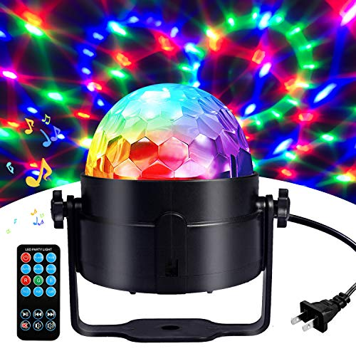Disco Ball Disco Lights-COIDEA Party Lights Sound Activated Storbe Light With Remote Control DJ Lighting,Led 3W RGB Light Bal, Dance lightshow for Home Room Parties Kids Birthday Wedding Show Club Pub]()