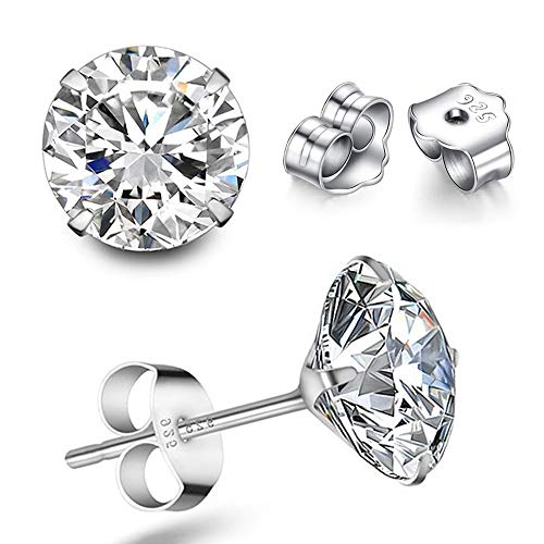 MMTTAO 925 Sterling Silver Pricess Cut Cubic Zirconia Stud Earrings for Women Men 4 Prong Sparkling Pure Brilliance Round Diamond CZ Studs Ear Piercing Earrings Hypoallergenic Jewelry,4MM
