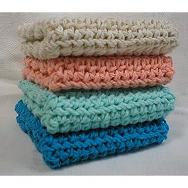Handmade Crochet Cotton Washcloths Dishcloths (Set of 4) Turquoise, Pastel Blue, Peach, Cream