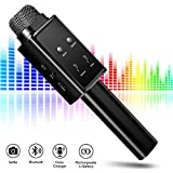 Wireless Bluetooth Karaoke Microphone with Dynamic LED Light, 5 in 1 Handheld Karaoke Machine Singing Mic Voice Changer Gift Home Party KTV Birthday Speaker Compatible for iPhone/Android/iPad/PC Gold