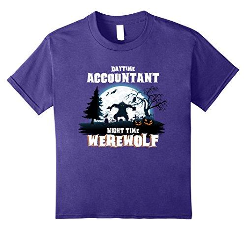 Kids Accountant Werewolf At Night Halloween Costume Shirt 10 Purple