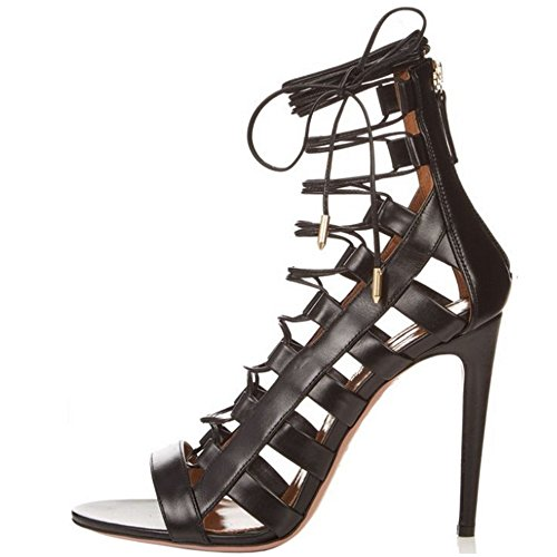 Taoffen Women Stiletto Sandals Zipper Ankle Heel Gladiator Strap Black Roman rEEdqw