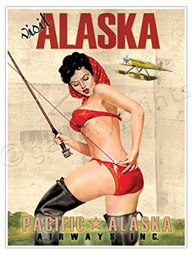ALASKA AIRLINES Vintage Travel Art Poster Print Pacific Pinup Girl Fishing - measures 24
