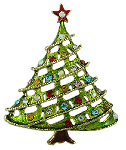 Lilylin Designs Large Light Green Enamel and Crystal Christmas Tree Brooch Pin ()