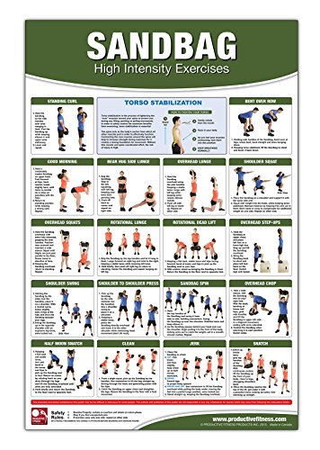 Sandbag Exercise Poster/Chart - High Intensity Exercises - Improve Strength, Agility and Overall Power - Lose Fat & Burn Calories Quickly - Power ... Interval Training - Used in Schools - Swan Sand