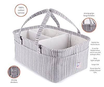 We Care Vida Diaper Caddy Organizer | Baby Registry Must Haves | Large, Nursery Storage Bins | Best Baby Shower Gifts Idea for Boy, Girl and Twins | Toy Storage | Gray Striped