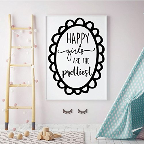 Wall Decal for Girls - Happy Girls Are The Prettiest- Home Decor For Child's Bedroom, Children's Playroom or Nursery -