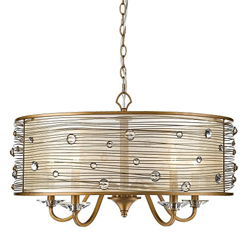 Golden Lighting 1993-5 PG Joia - Five Light Chandelier, Peruvian Gold Finish with Sheer Filigree Mist (Handwrapped Crystal)