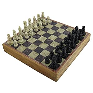 Marble Stone Art Unique India Chess Pieces and Board Set 8 X 8 Inches New .HN#GG_634T6344 G134548TY14472