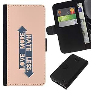 All Phone Most Case / Oferta Especial Cáscara Funda de cuero Monedero Cubierta de proteccion Caso / Wallet Case for LG OPTIMUS L90 // Peach Arrow Love Hate Up Down Quote
