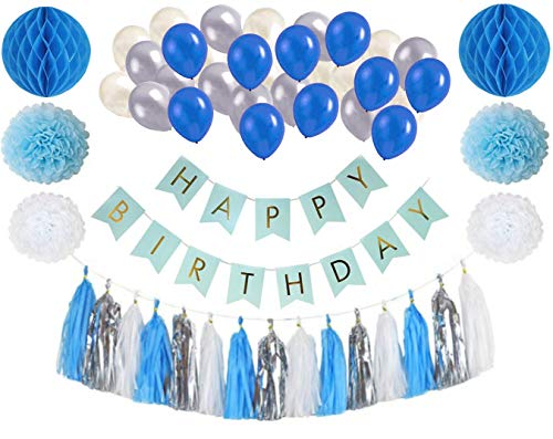 Birthday Party Decorations – Blue, White and Silver Party Supplies for Boys - 64 Pcs. Happy Birthday Banner, Tissue Paper Pom Poms, Honeycomb Balls, Balloons and Tassel Garlands
