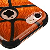For iPhone 7 / 8 Case, Kaleidio [TUFF] Rugged Shockproof Hybrid 3-Piece Dual Layer Protective Armor Cover for Apple iPhone 8 / 7 [Includes a Overbrawn Prying Tool] [Basketball Design]