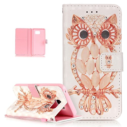 ikasus Galaxy Note 5 Case,Galaxy Note 5 Cover, Shiny Glitter Diamond Colorful Art Painting PU Leather Flip Wallet Pouch Stand Credit Card ID Holders Case Cover for Samsung Galaxy Note 5,Jewelry OWL