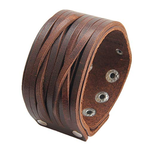 AZORA Punk Leather Bracelet Handmade Cuff Bangle Braided Wristband Adjustable Bracelets for Men,Kids,Boys,Women (AL030-BROWN)