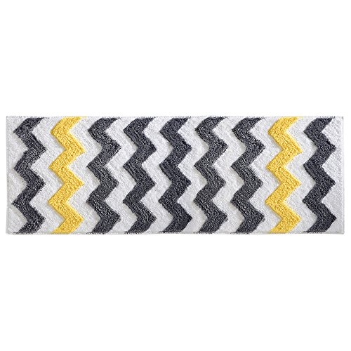 iDesign Chevron Microfiber Long Accent Shower Rug, Bath Mat for Master, Guest, Kids' Bathroom, Entryway, 60