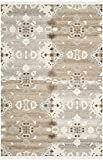Safavieh Natural Kilim Collection NKM318A Flatweave Grey and Multi Wool Area Rug (5′ x 8′)
