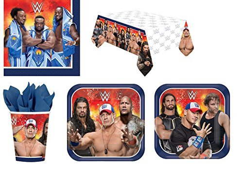WWE Wrestling Party Supplies Kit for 16 - Plates Cups Napkins Tablecloth by Designware