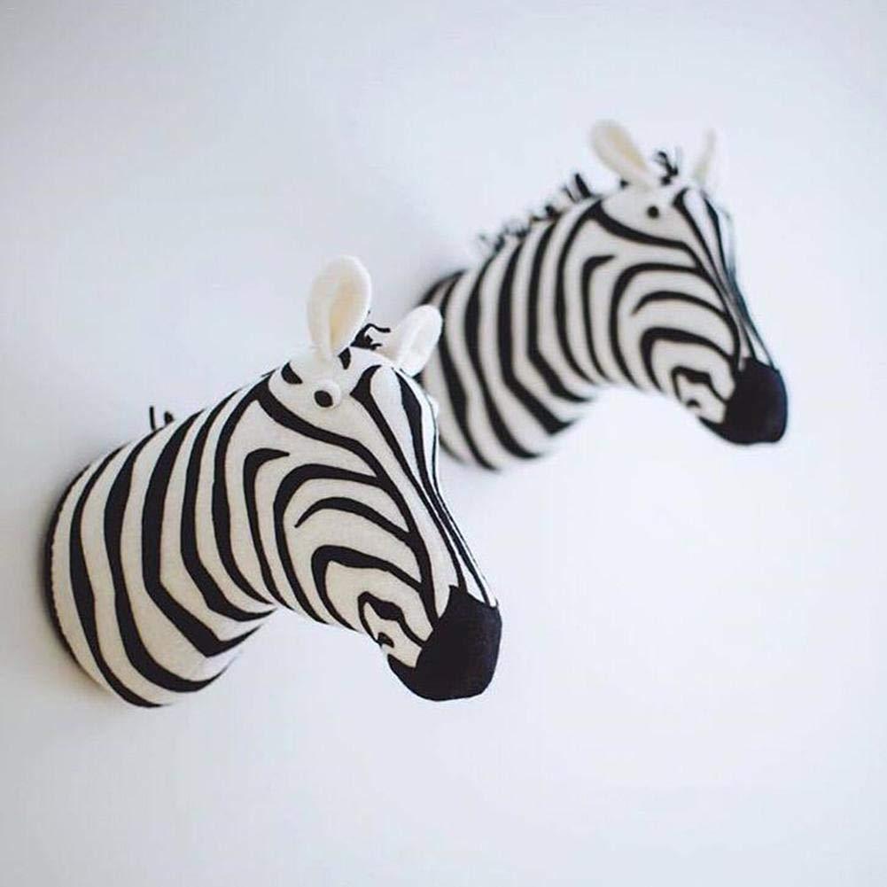 Testa Di Animale Farcito Zebra Ippopotamo Giraffa Elefante Leone Testa Di Animale Farcito Montaggio A Parete Stanza Dei Bambini Scuola Materna Decorazione Della Parete Peluche WallToy Supporto Parete