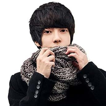 ROPALIA Winter Mens Warm Striped Knit Woolen Scarves Long Crochet Mohair Scarf