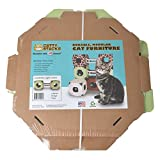 Catty Stacks Modular Cat House Cubes with Bridge, 2 cubes, Made in USA, Green