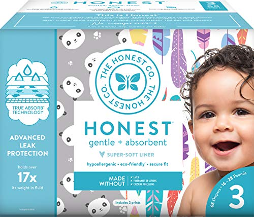 The Honest Company Club Box Diapers with TrueAbsorb Technology, Pandas & Painted Feathers, Size 3, 68 Count