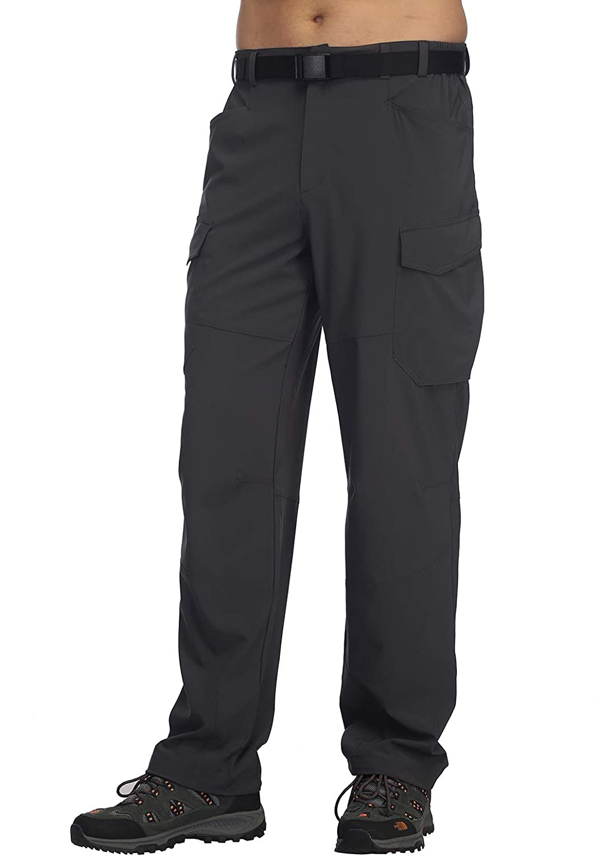 5 Pockets MIER Mens Lightweight Hiking Pants Quick Dry Outdoor Cargo Pants with Partial Elastic Waist YKK Zipper