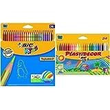 Bic - Pack 24 lápices de colores Tropicolors + 24 ceras de colores Plastidecor