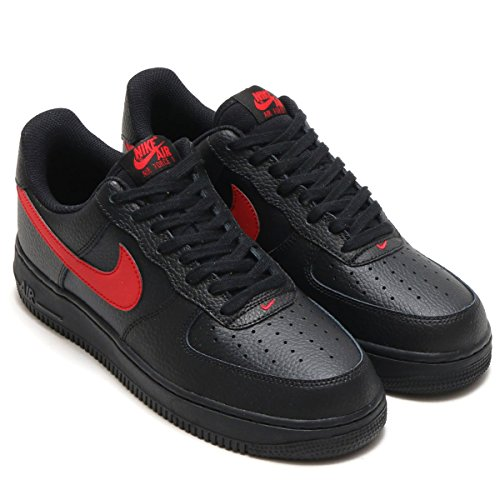 Nike Mens Air Force 1 Låg Läder Basket Skor Svart / Universitet Röd