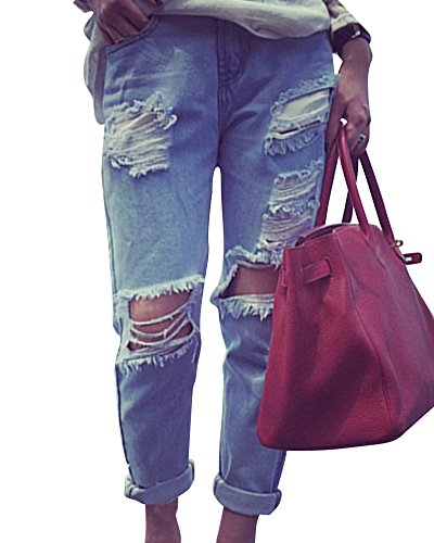 Mujeres Distressed Vaqueros Pantalones Mezclilla Denim Jeans Boyfriend Como Imagen