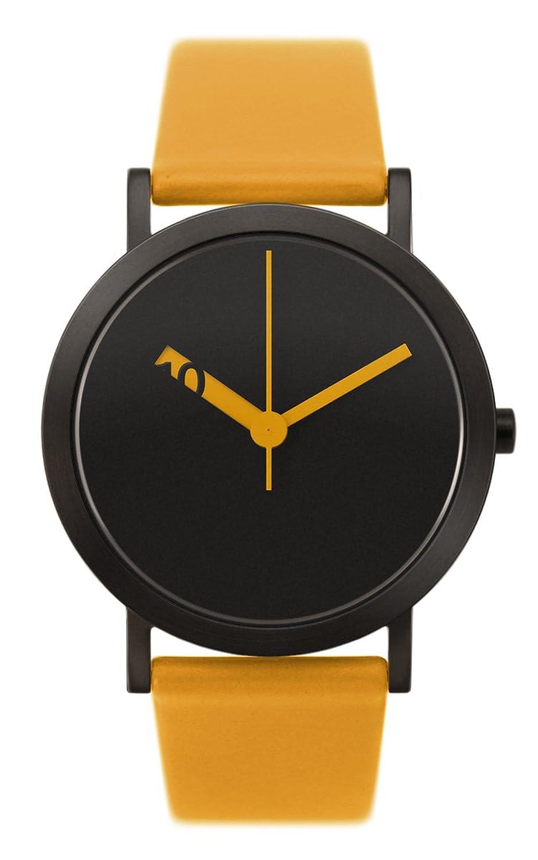 Normal Timepieces - Extra Normal Grande - Edelstahl IP Schwarz Bernstein Leder Unisex Uhren