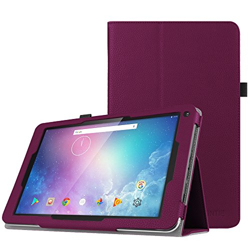 Fintie Folio Case for Dragon Touch V10 10-Inch Android Tablet, Slim Fit Premium PU Leather Stand Cover with Stylus Holder, Purple