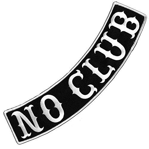 - VEGASBEE® NO CLUB BLACK-WHITE EMBROIDERED IRON-ON DECORATIVE PATCH BIKER JACKET RIDER VEST LOW ROCKER 12