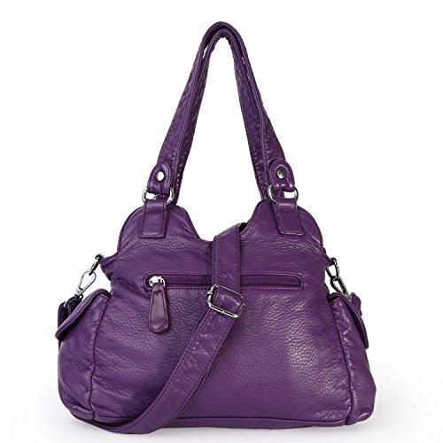 Handbags Leather 3 Purple Women PU Pockets Multi Shoulder Mini Barcelo Bags Zippers Purse Angel Top Ua1t0n
