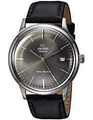 Orient Mens 2nd Gen. Bambino Ver. 3 Japanese Automatic Stainless Steel and Leather Dress Watch, Color:Black...