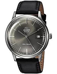 Men's '2nd Gen. Bambino Ver. 3' Japanese Automatic Stainless Steel and Leather Dress Watch, Color:Black (Model: FAC0000CA0)