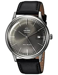Orient Men's '2nd Gen. Bambino Ver. 3' Japanese Automatic Stainless Steel and Leather Dress Watch, Color:Gray (Model: FAC0000CA0)